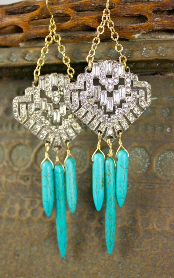 Super Rare Rhinestone Boho Navajo Art Deco Tribal Turquoise Arrowhead Dress Fur Clip Chandeliers