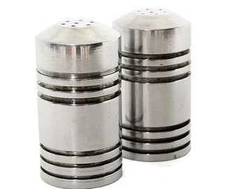 Free Shipping Mid century Modern Polished Aluminum Salt Shakers Airstreamer