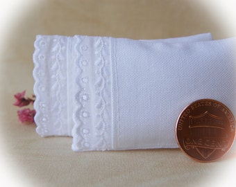 Dollhouse Miniature White Bed Pillows with Scalloped Embroidery, set of 2 - 1:12 scale