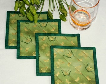 Butterfly Coasters, Quilted Fabric Coasters, Green Mug Mats, Drink Mats, Set of 4 Coasters, Quiltsy Handmade