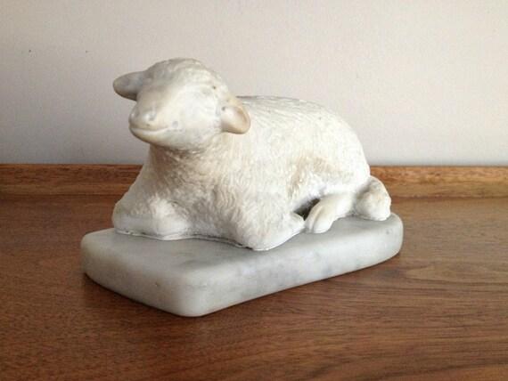 Antique Marble Lamb Mourning Statue Memorial