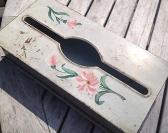 Vintage Tin Tissue Box Shabby Rusty Chippy