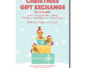 Birds on Gifts Christmas Gift Exchange Party Invitation