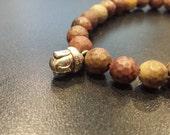 Chinese Painted Jasper Buddha Bracelet 7, stretch bracelet, Prosperity Gift, Sister Brother gift, Unisex gift