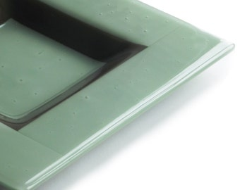 Celadon green and brown Fused Glass Dish