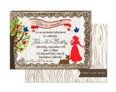 SNOW WHITE Woodland Birthday Party Invitation, Digital File or Professionally Printed