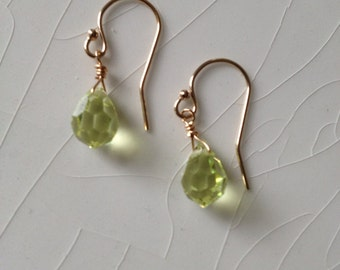 Swarovski Peridot Crystal Briolette Drop Gold Filled Dangle Earrings
