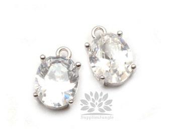 P535-04-S// Original Rhodium Framed Crystal Oval Glass Pendant, 2 pcs