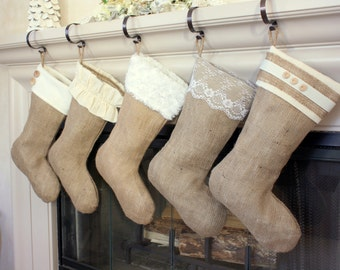 Choose Three (3) Burlap Christmas Stockings - The Classic Cream Line