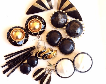 CLEARANCE destash black  vintage retro earrings mixed lot 9 pairs to wear or for crafts and assemblage lot 985