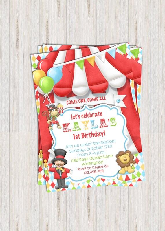 Circus Bigtop Birthday Invitation