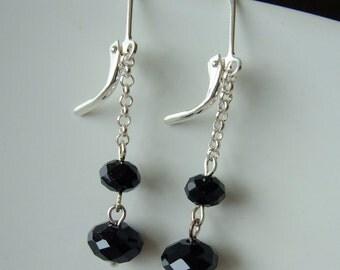 Earrings - Black Crystal glass danglies - sale clearance