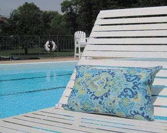 "SALE Outdoor Pillows, Blue Paisley Indoor Outdoor Lumbar,Pillows, Lumbar Pillows,12""x18"" inch decorative pillow,outdoor decor,kid friendly"