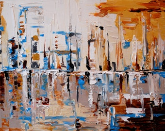 18x24 Abstract City Painting in heavy texture with impasto by Emily Newman