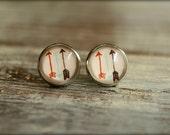 Three Arrow Glass Cab Earring Studs
