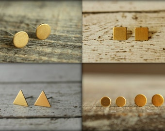 Raw Brass Earring Studs Trio: Geometric Combo, Three Pair Brass Earring Studs, Simple Small Earrings, Circle Square Triangle Shapes