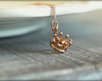 Crown Necklace, Available in Gold and Rose Gold
