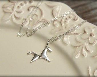 Origami Horse Necklace in Sterling Silver