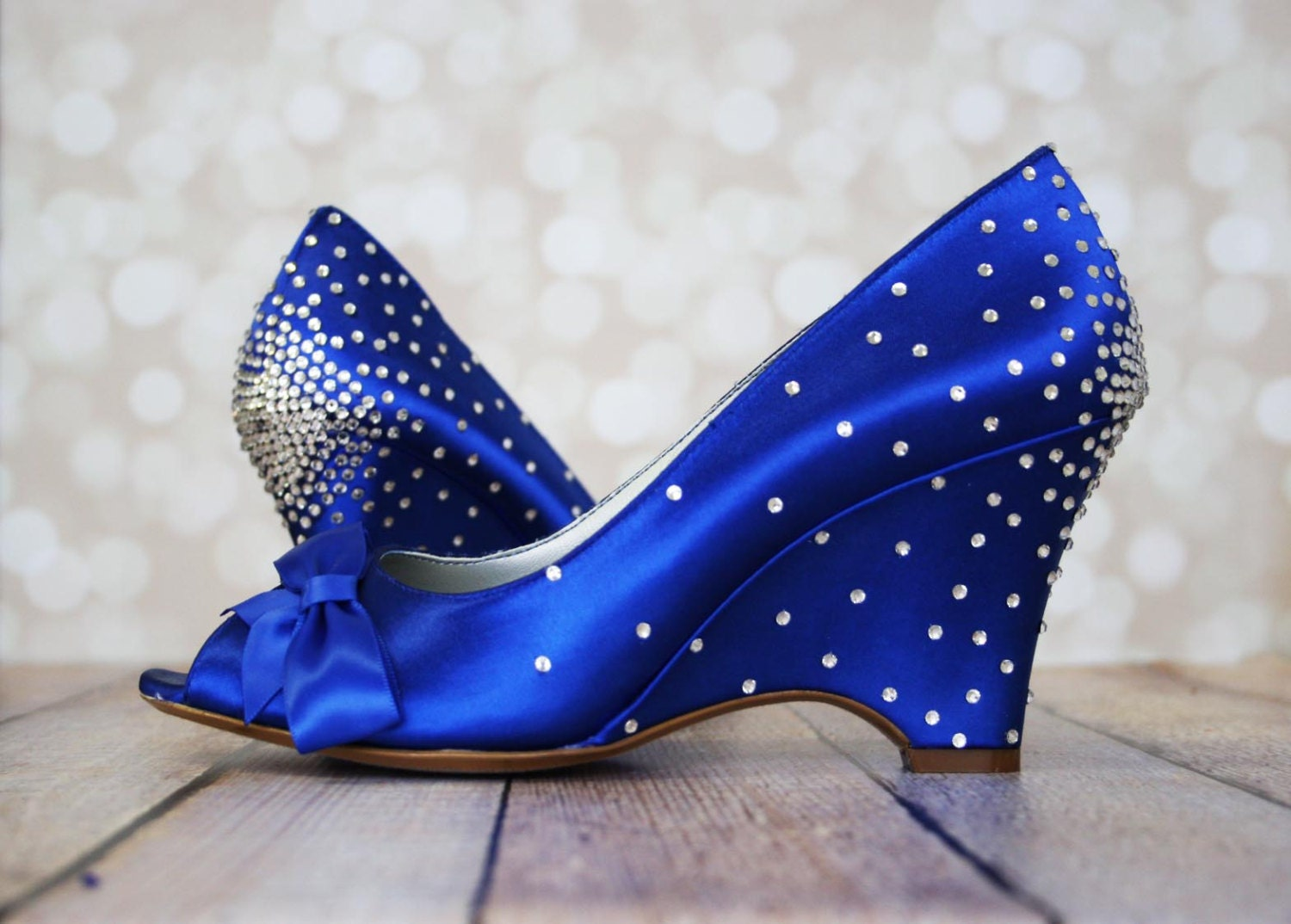 Wedding Shoes Royal Blue Wedge Wedding By DesignYourPedestal