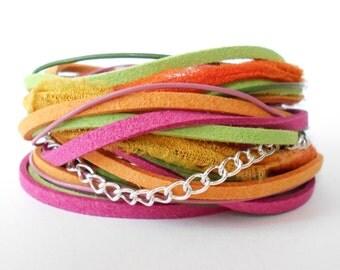 bohemian wrap bracelet, pink orange green wrap, leather wrap, ribbon wrap, bright triple wrap bracelet, womens bracelet, gift for her