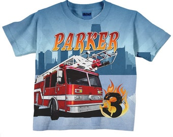 Fireman Birthday Shirt, Personalized Boys Firefighter, Fire Engine, Fire Engine T-Shirt