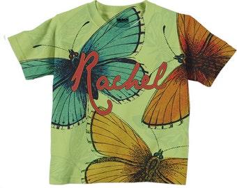 Girls Butterfly Shirt, Personalized Big Butterflies Tshirt, Girls Clothing, girls top