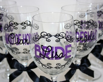 8 Personalized Bride and Bridesmaids Wine Glasses