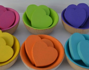 Hearts and Bowls Counting Sorting  Montessori Wooden Rainbow Sensory Toy.....Bowl full of Love