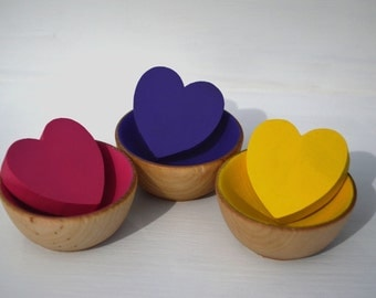 Babies First Counting Sorting  Montessori Wooden Rainbow Sensory Toy 3 Hearts And 3 Bowls
