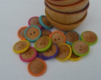 Rainbow Counting Sorting Buttons Montessori Inspired Sensory Wooden Toy (18 Buttons Only)