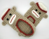 Teen Sock Monkey Slippers, House Shoes, Crochet Slippers, Sock Monkey Slippers, Teen Slippers, Adult Slippers, House Slippers