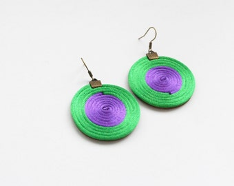 Geometric earrings, circle earrings, minimal earrings, green and purple earrings, satin cord earrings, spiral earrings, spring trends