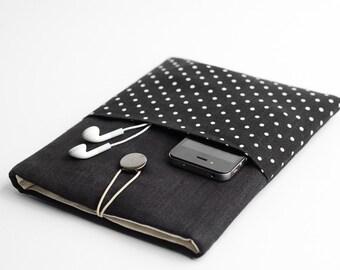 Macbook 13 inch case, Macbook Air 13 sleeve, Macbook Retina 13 inch case, with pocket, polka dots