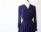 Japanese Vintage Dress S// 70s Dress// Black Purple Leaf Chiffon Dress// Japan