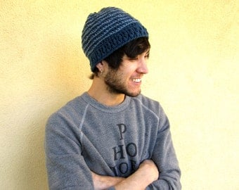 Men's Beanie Beenie in Blue Crochet Striped Gift for Guys Shark Week Nautical