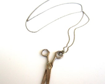 Vintage Sterling Silver Stylist Scissors Necklace Hairdresser Graduation Gift