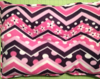 Pink chevron fleece dog or puppy crate pad / bed