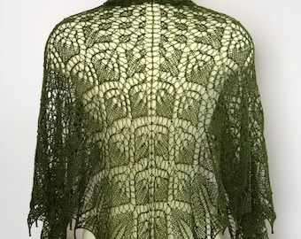 HANDKNIT LACE Beaded SHAWL Forest Green Gift For Her Merino Fine Wool Silk Glass Bead Elegant Wrap Stole Opera Evening Theater Symphony Wear