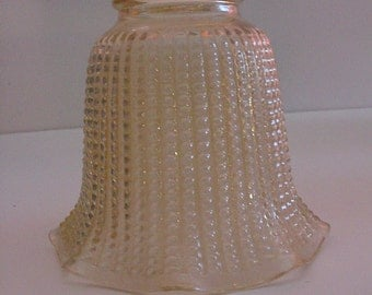 "Antique Vanilla Light Shade 4"" Beaded Embossed Glass Lamp Sconce Vanity Soft Lighting"