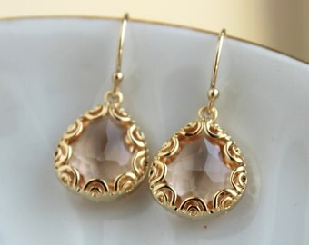 Gold Champagne Blush Earrings Peach Pink Jewelry - Pear Shaped Gold Design - Gold Blush Bridesmaid Earrings Champagne Peach Wedding Earrings
