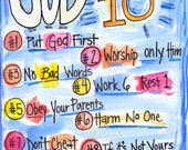 Bible Verse God's Top Ten Commandments for Kids and all Protestant OR Catholic illustrated watercolor print