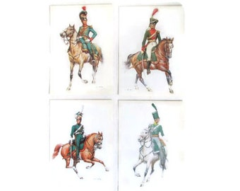 Soldier Postcards Green Uniform Horses Ephemera