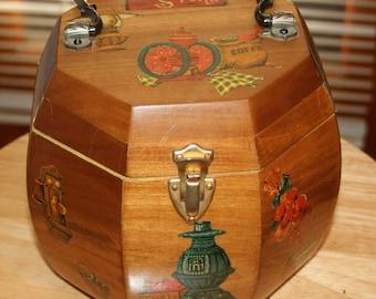 Vintage Wood Box Purse 1975 Decoupage