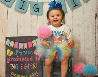 Big Sister Burlap Banner- Baby - Photo Prop