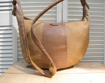 EMANUEL UNGARO Vintage Leather & Canvas Large Hobo Handbag