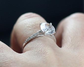 Goshenite Engagement Ring Diamonds Half Eternity Custom Pistis White-Yellow-Rose Gold-10k-14k-18k-Platinum