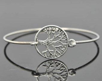 Tree of Life Bangle, Sterling Silver Bangle, Tree of Life Bracelet, Stackable Bangle, Charm Bangle, Bridesmaid Bangle, Bridesmaid jewelry