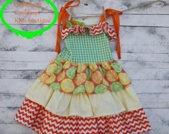 Lemons and Limes Summer fun Girls sun dress, summer dress,photoprop,birthday dress,ruffle dress,chevron dress