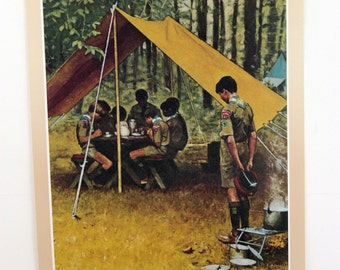 Vintage 1960's Norman Rockwell We Thank Thee O Lord Boy Scout Print