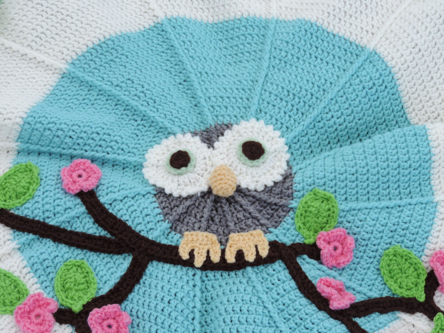 Crochet Owl Baby Blanket : Crochet Baby Owl Blanket by EllieJaneShop on Etsy
